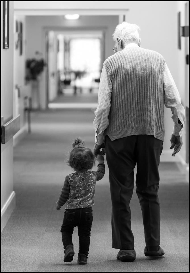pensioner and child